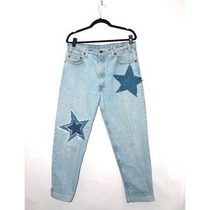 Levi's Custom Vintage Denim Star Motif Mom Jeans